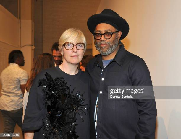 MOCA Chief Curator Helen Molesworth and artist Arthur Jafa attend MOCA's Leadership Circle and Members' Opening of 'Carl Andre Sculpture as Place...