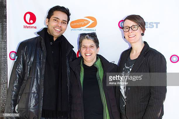 Chief Curator of Film Ravendra Joy Managing Director Leslie Klainberg and Kristen Fitzpatrick arrive to Outfest Queer Brunch 2013 Park City on...