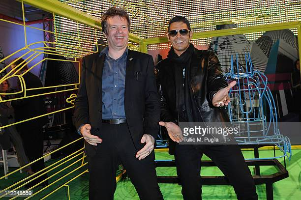 Chief designer of Land Rover Andy Wheel and DJ Sergio Cerruti attend the Benedict Radcliffe wireframe design installation inspired by Range Rover...