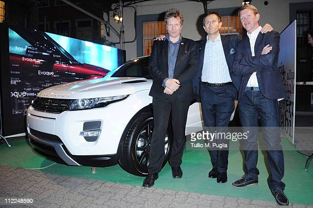 Chief designer of Land Rover Andy Wheel President of JaguarLand Rover Italy Daniele Maver and Designer Benedict Radcliffe attend the Benedict...