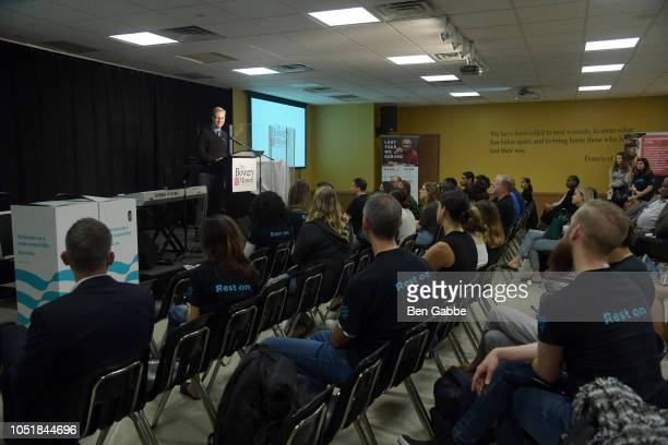 Chief Development Officer for Bowery Mission James Winans speaks onstage at Bowery Mission This World Homeless Day Gold Medalist Aly Raisman joined...