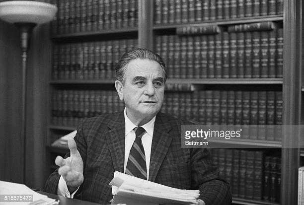 Chief District Court Judge John J Sirica signs a show cause order during the Watergate Hearings which directs the Nixon administration to state why...