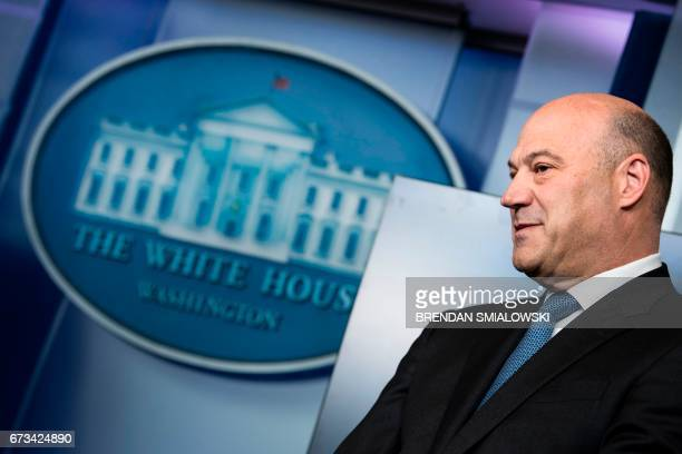 Chief Economic Advisor Gary Cohn waits to speak in the Brady Briefing Room on US President Donald Trump's tax reform plans on April 26 2017 in...