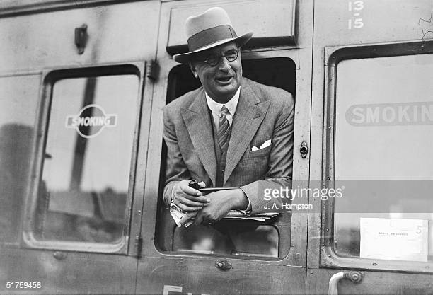 Chief economic advisor to the British government Sir Frederick LeithRoss at Waterloo Station London at the start of a trip to China 10th August 1935
