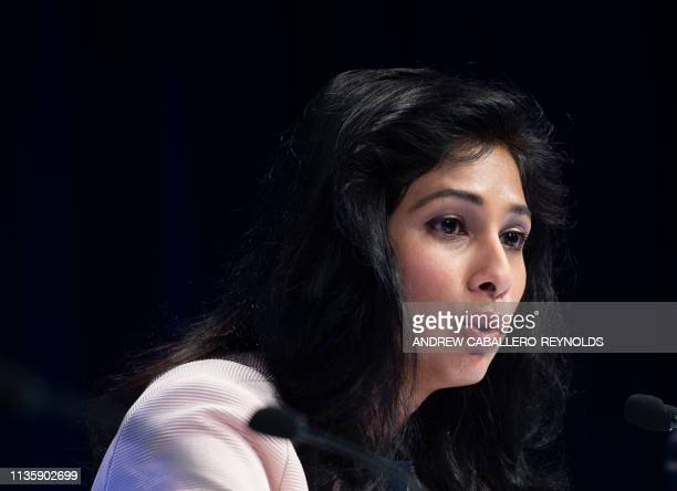 Chief Economist and Director of the Research Department at the International Monetary Fund Gita Gopinath speaks during a press conference in...