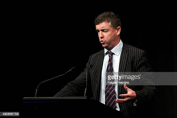 Chief Economist Cameron Bagrie speaks during a postbudget breakfast at Queen's Wharf on May 16 2014 in Wellington New Zealand The National party...