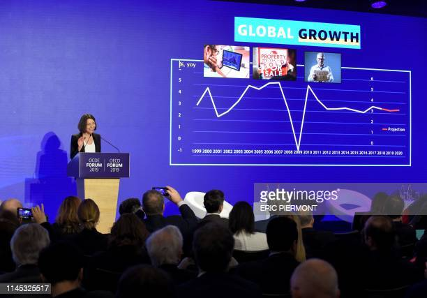 Chief Economist of the Organisation for Economic Cooperation and Development Laurence Boone delivers a speech as she presents the OECD Economic...