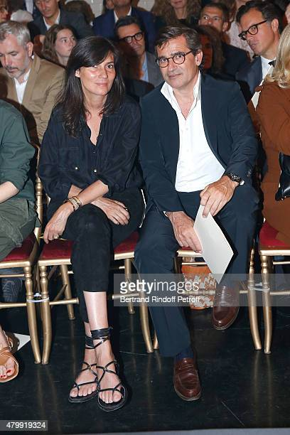 Chief Editor of Vogue Paris Emmanuelle Alt and CoOwner of Gaultier Manuel Puig attend the Jean Paul Gaultier show as part of Paris Fashion Week...