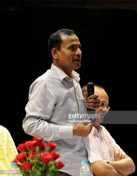Chief Election Officer Uttar Pradesh L venkateshwar lu addresses the media and other people at Indira Gandhi Kala Kendra on September 19 2018 in...