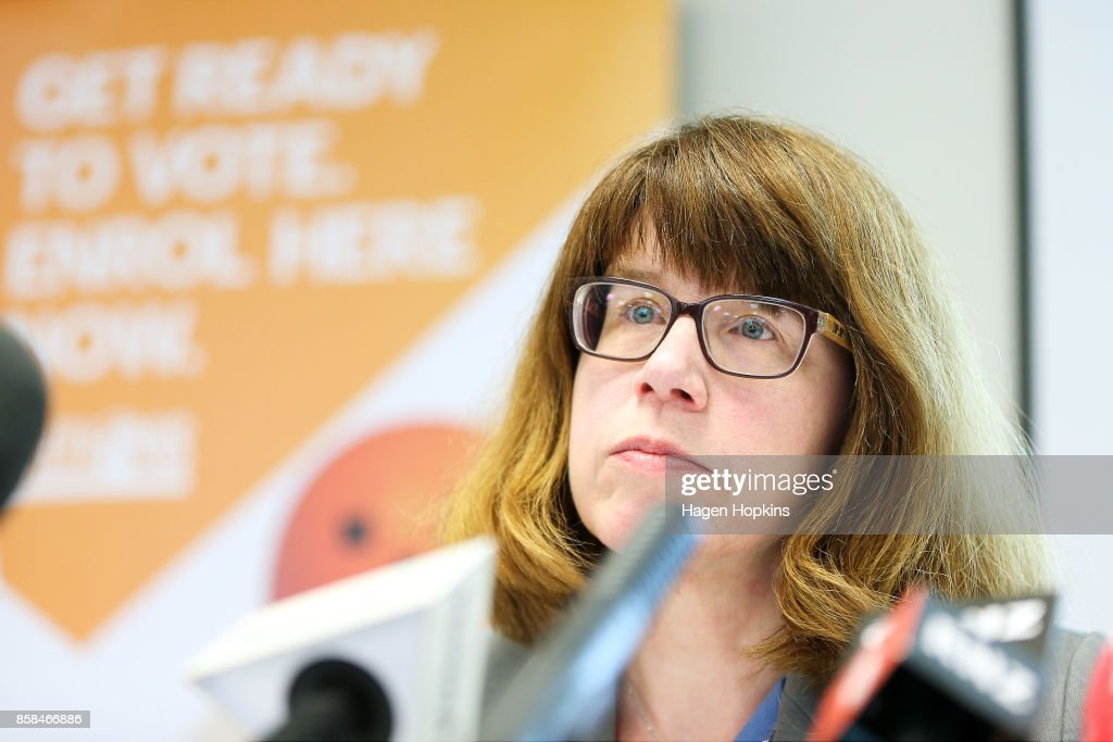 Chief Electoral Officer Alicia Wright speaks during a media briefing at the Electoral Commission on October 7, 2017 in Wellington, New Zealand. The general election was held on Saturday 23 September, but with results too close to call, no outright winner between National's Bill English and Labour's Jacinda Ardern was able to be announced.
