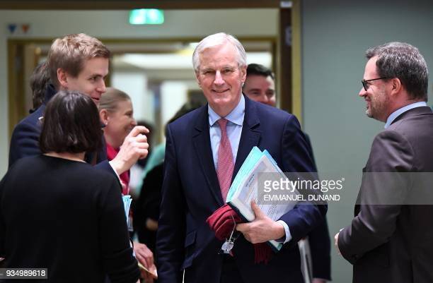 Chief EU negotiator for Brexit Michel Barnier arrives to attend a general affairs council on article 50 at the European Council in Brussels on March...