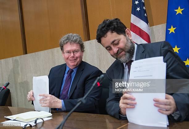 Chief EU negotiator Ignacio GarciaBercero and chief US negotiator Dan Mullaney prepare to leave after holding a press conference in WashingtonDC on...