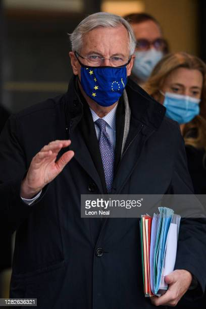 Chief EU Negotiator Michel Barnier walks from his hotel to the Department for Business Energy and Industrial Strategy on October 28 2020 in London...
