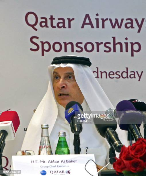 Chief Excecutive Officer of Qatar Airways Akbar alBaker speaks to the press during the signing of a sponsorship agreement with the secretary general...