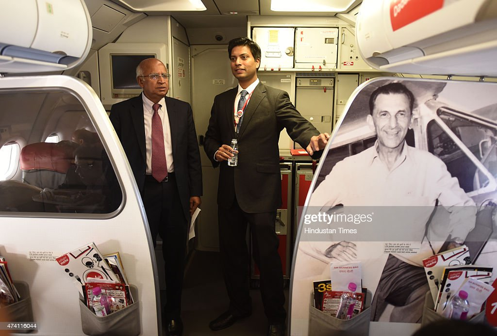 Chief Executive AirAsia Mittu Chandilya and AirAsia India Chairman S Ramadorai on air during the Air Asia test flight started from Delhi from Indira..