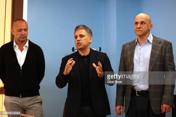 ISL chief executive Ali Khan with Andrea di Nino ISL Managing Director and Konstantin Grigorishin Head of the ISL Advisory Board speak to the media...