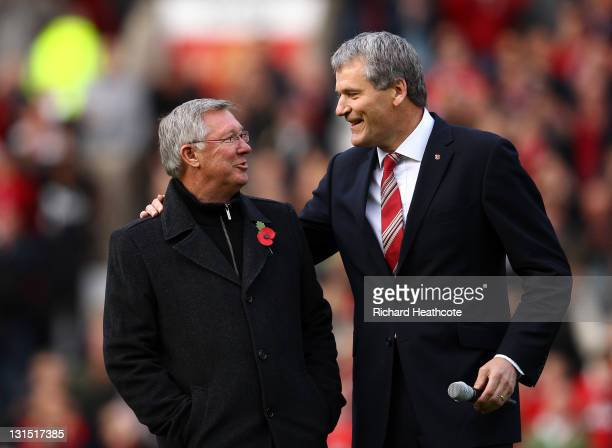 Chief Executive David Gill announces the name changing of the North Stand to the 'Sir Alex Ferguson Stand' to commemerate Sir Alex's 25th year as...
