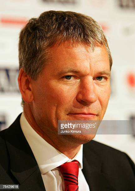 Chief Executive David Gill of Manchester United attends a press conference at Four Season's Hotel on July 16 2007 in Tokyo Japan Manchseter United...