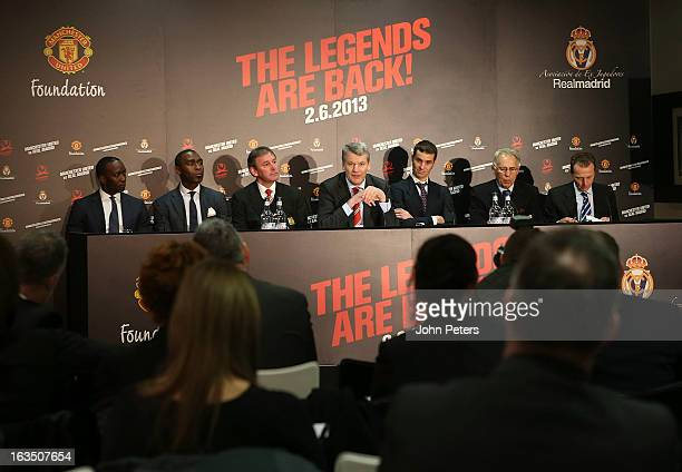 Chief Executive David Gill of Manchester United speaks at a press conference to announce a charity match between Manchester United Legends and Real...