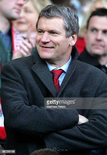 Chief Executive David Gill of Manchester United watches from the stands during the Barclays Premiership match between Charlton Athletic and...