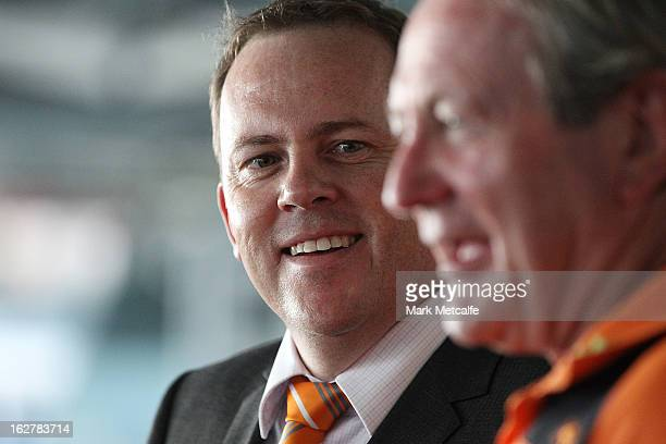 Chief Executive David Matthews and Head Coach Kevin Sheedy speak to the media during a Greater Western Sydney Giants AFL media announcement at ANZ...