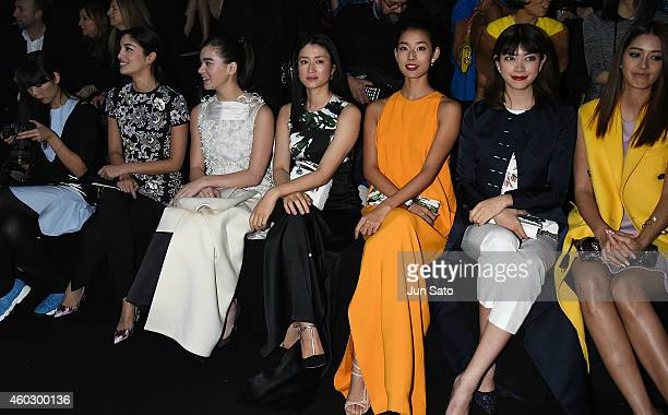Chief Executive Fashion Director of Tank Magazine Caroline Issa actresses Hailee Steinfeld Koyuki models Sumire Hikari Mori and Izumi Mori are seen...