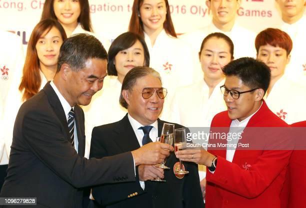 Chief Executive Leung Chun-ying; Timothy Fok Tsun-ting; and Kenneth Fok Kai-kong; attend the Flag presentation to the Hong Kong Delegation for the...