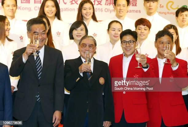 Chief Executive Leung Chun-ying; Timothy Fok Tsun-ting; Kenneth Fok Kai-kong; and Ronnie Wong Man-chiu, attend the Flag presentation to the Hong Kong...