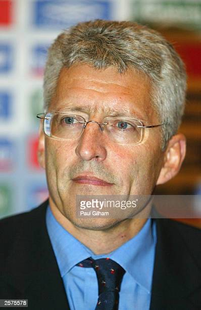 Chief Executive Mark Palios talks during a press conference at Sopwell House on October 8, 2003 in St Albans, England. Eriksson was discussing the...