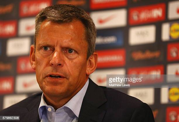 Chief Executive Martin Glenn attends a press conference with newly appointed England manager Sam Allardyce at St George's Park on July 25 2016 in...