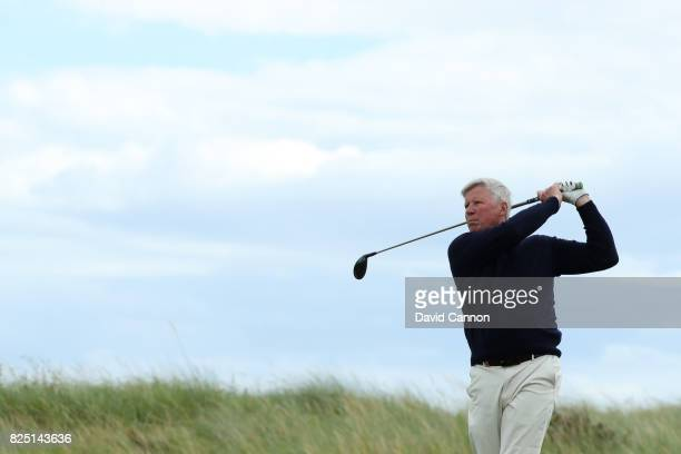 Chief Executive Martin Slumbers tees off during a pro-am round prior to the Ricoh Women's British Open at Kingsbarns Golf Links on August 1, 2017 in...