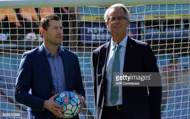 Chief Executive of Football Federation Australia David Gallop and former player Brett Emerton speak at a press conference at ANZ Stadium in Sydney on...