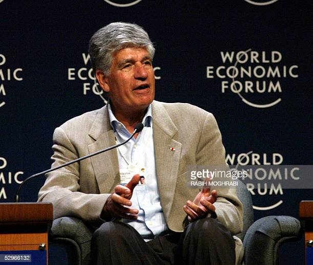 Chief executive of French marketing and advertising company Publicis Groupe, Maurice Levy speaks at the final session of the World Economic Forum in...