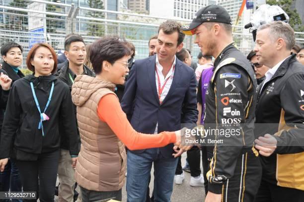 Chief Executive of Hong Kong Carrie Lam Alberto Longo and FIA Formula E racing driver Andre Lotterer attend the ABB FIA Formula E HKT Hong Kong EPrix...