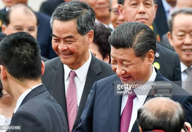 Chief Executive of Hong Kong Leung ChunYing and Chinese President Xi Jinping at Hong Kong International Airport on June 29 2017 in Hong Kong Chinese...