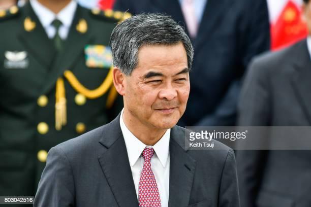 Chief Executive of Hong Kong Leung ChunYing at Hong Kong International Airport on June 29 2017 in Hong Kong Chinese President Xi Jinping made a visit...