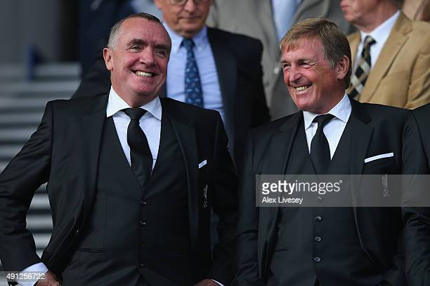 Chief executive of Liverpool FC, Ian Ayre and Kenny Dalglish ahead of the Barclays Premier League match between Everton and Liverpool at Goodison...