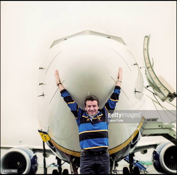 Chief executive of lowcost airline Ryanair Michael O'Leary with one of his airliners at Dublin Airport 22nd March 2001