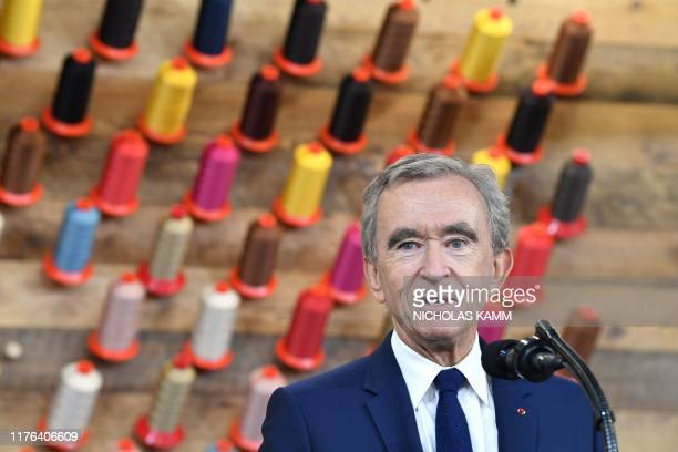 Chief Executive of LVMH Bernard Arnault speaks during a visit to the new Louis Vuitton factory in Alvarado Johnson County Texas on October 17 2019 A...
