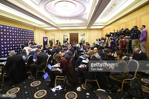 Chief Executive of Premier League Richard Scudamore speaks to the media during the announcement of the Premier League's UK live broadcasting rights...