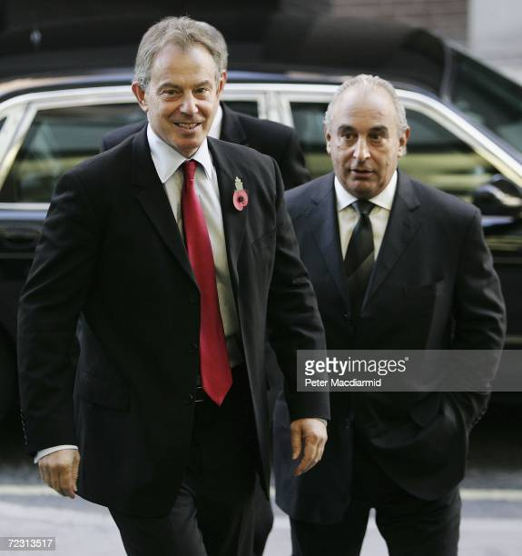 Chief Executive of the Arcadia Group Sir Philip Green meets with Prime Minister Tony Blair at the opening of the Fashion Retail Academy on October 31...