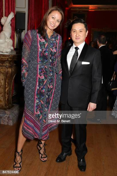 Chief Executive of the British Fashion Council Caroline Rush and Dr Frank Cintamani attend the official COUTURiSSIMO UK launch at The Orangery at...