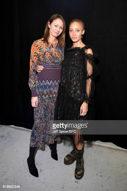 Chief Executive of the British Fashion Council Caroline Rush and model Adwoa Aboah attend the LFW Press Conference during London Fashion Week...