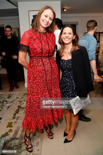 Chief Executive of the British Fashion Council Caroline Rush and SVP Corporate Branding Communication Americas Swarovski Helene Keech attend The...