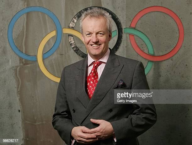 Chief executive of the British Olympic Association Simon Clegg poses infront of the Olympic rings logo on January 19 2006 at the Headquarters of the...