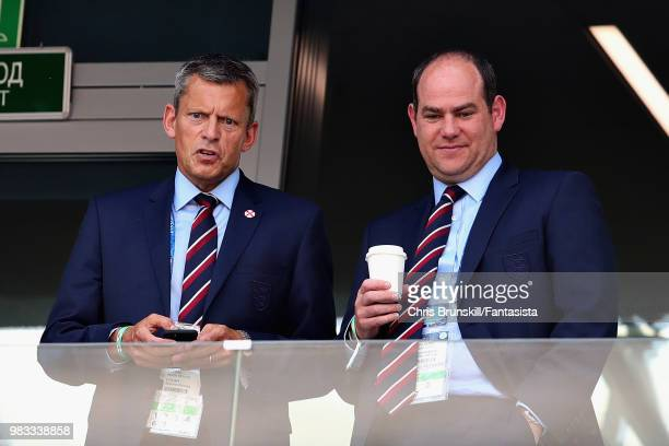 Chief Executive of the FA Martin Glenn talks with Strategy Communications Director of the FA Robert Sullivan during the 2018 FIFA World Cup Russia...