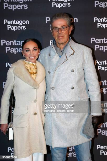 Chief Executive of the Groupe Lucien Barriere Dominique Desseigne and Alexandra Cardinale attend the 'Pentagon Papers' Paris Premiere at Cinema UGC...