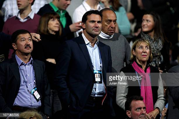 Chief Executive of the LTA Roger Draper watches during the men's final between Rafael Nadal of Spain and Roger Federer of Switzerland during the ATP...