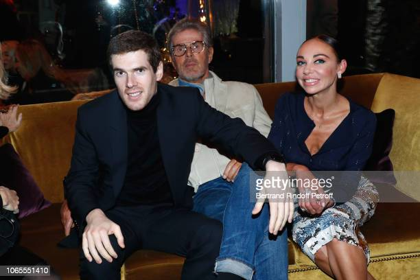 Chief Executive of the Lucien Barriere Group Dominique Desseigne sitting between his son Alexandre Desseigne and Alexandra Cardinale attend the...