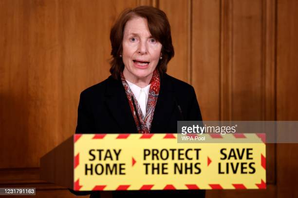 Chief Executive of the MHRA June Raine during an update on the coronavirus Covid-19 pandemic during a virtual press conference inside 10 Downing...